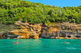 Pictured Rocks - Divided Wall, Two Kayaks