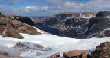 Mar 19 Cairngorms ski tour - Looking down to Loch Avon from the Feith Buidhe burn with low snow cover