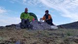 June 19 Fisherfield 6 munro round at camp in the evening at the col before Beinn Tarsuinn