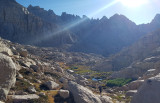 Hiking above Sky Blue Lake weaving crossing country through the boulders and slabs