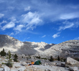 September 19 We kept going down and across to Crabtree Meadows and joined the John Muir Trail stopping to camp below Guitar Lake