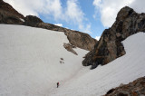 Final snow patches below the pass