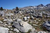Easy hiking thru boulder meadows towards Puppet Pass