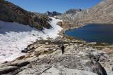 Above La Salle Lake hiking rough granite slabs