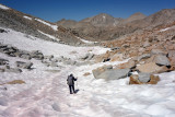 We reached Feather Pass easily and a snow patch on the north side made the descent a bit easier than boulder hopping