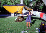 1998 PCT South California Martina dries the tent somewhere near Aqua Dulce