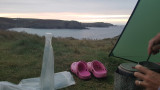 Sep20 Camp view with gannets floating by offshore