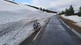 Feb 21 Cairngorms- cycling up to the ski car park with tthe road being closed to cars- plenty of snow!