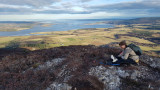 Feb 21 On the Struie summit - Martina with Bess the collie