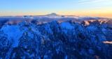 Treen Peak, Garfield Mountain, Chair Peak, Kaleetan Peak, Mount Rainier at Sunset, Washington 655a