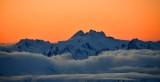 Orange Sky over Mount Olympus, Olympic National Park, Olympics Mountain, Washington 869a