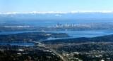 Olympic Mountain Range Puget Sound, Downtown Seattle, I-90 Floating Bridge, Mercer Island, Lake Washington 132