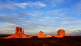 The Mittens and Merrick Butte and Moon at sunset, Monument Valley Tribal Park, Utah-Arizona 707