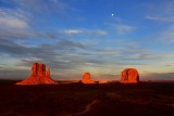 The Mittens and Merrick Butte and Moon at sunset, Monument Valley, Navajo Tribal Park, Arizona 728