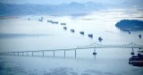 Cargo Ships waiting at Port of Astoria, Astoria, Oregon and Washington 166
