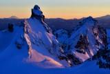 Chimney Rock, Lemah Mountain, Mount Adams, Mount Rainier, Cascade Mountains, Washington 345a