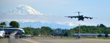 USAF C-5 Galaxy and Mt Rainier, Landing at Boeing Field KBFI, Seattle, Washington 102a