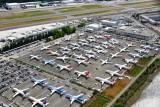 Boeing 737-8 MAX over flow parking, Boeing Field, Seattle, Washington 375