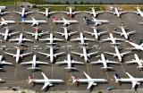 Boeing 737-8 MAX over flow parking, Boeing Field, Seattle, Washington 413