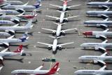 Boeing 737-8 MAX over flow parking, Boeing Field, Seattle, Washington 422