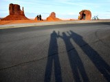 Three of Us and Monument Valley, The Mittens and Merrick Butte, Navajo Tribal Park, Navajo Nation, Arizona 614