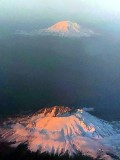 Waterpainting of Mt St Helens and Mt Adams, Washington