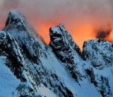 Burning sunset on Garfield Mountain in Cascade Mountains, Washington 725