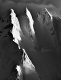 Dramatic Three Fingers Mountains, Three Fingers Lookout under heavy snow, Queest-alb Glacier, Cascade Mountains, Washington 532