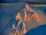 Sunset on  Gunn Peak, Merchant Peak,  Cascade Mountains, Index, Washington 578