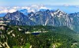 Sunset Lake on Burley Mountain, L-R Merchant Peak, Wing Peak, Tailgunner, Gunn Peak, Gurnshy Peak, Jumpoff Ridge, Cascade Mounta