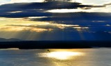 Washington State Ferry into Winslow on Bainbridge against evening light on Puget Sound, Olympic Mountains, Washington 142a