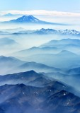 Smoke Filled Valley and Mount Adams and Mt Hood, Cascade Mountains, Washington 171