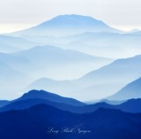 Mt St Helens in different blue shades, Cascade Mountains, Washington 301a