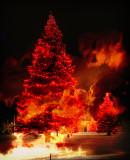 Xmas Tree on Fire Photo Montage