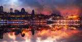 Ship on Fire in Quebec City Photo Montage