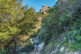 03 Hiker and interesting rock above Saratoga Gap Trail