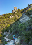04 Hiker and interesting rock above Saratoga Gap Trail