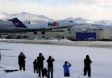 Landing of FedEx Boeing 727 at Merrill Field Alaska Feb 26,2013