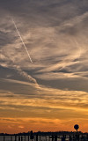 Contrail, sunset