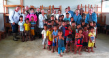 With the schoolkids in Victor's village