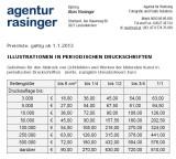Preislisten, Fotohonorare, Dipl. Ing. Alois Rasinger