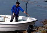 Fisherman unloads his catch