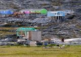 Ilulissat houses with fish drying shed