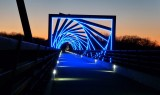 High trestle trail bridge at sunset