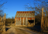 Old barn late in the evening.
