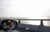Enjoying the view while passing over the South Padre Island bridge