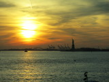 New York City  Statue of Liberty in sunset