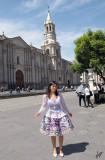 2013_04_03 Fabiola Roca in Plaza de Armas and Yanahuara