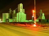 Strasburg, CO grain elevators-night shot.