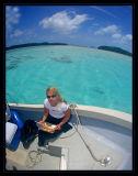 Susie enjoying lunch between dives in Palau